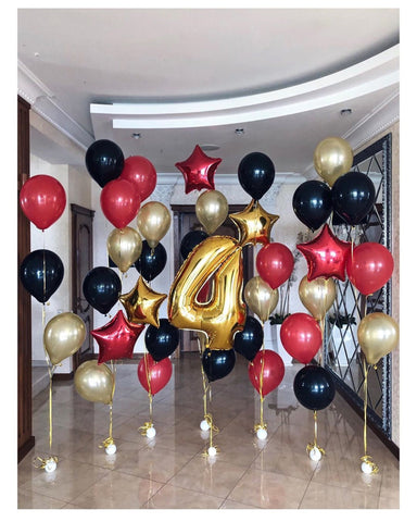 Black, Silver & Red 1-Age Birthday Grand Bouquet Wall