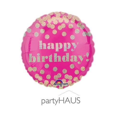 Gold Pink Polka Dot 18'' Balloon