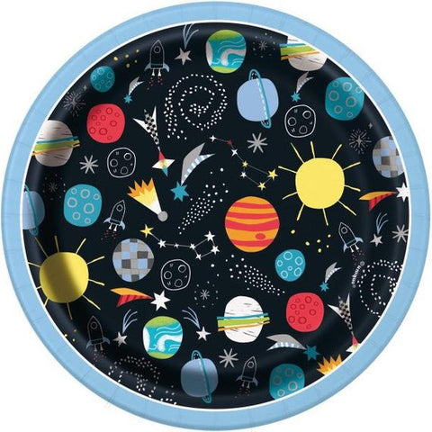 Outer Space Birthday Party Dessert Plates, Set of 8, Space Party, Rocket Party