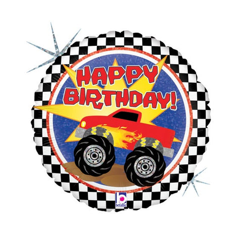 Checkered Monster Truck Balloon