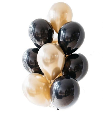 Metallic Black & Gold Latex Bouquet 10pc.