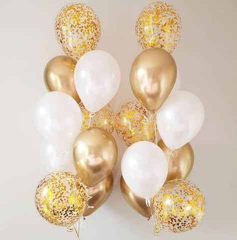 18pcs White and Gold Balloon Bouquet w/ weights