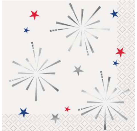 Fireworks Beverage Napkins 16ct