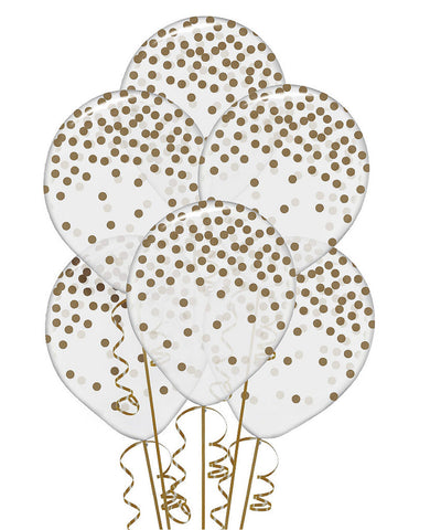 Transparent & Gold Dot Balloons 12in