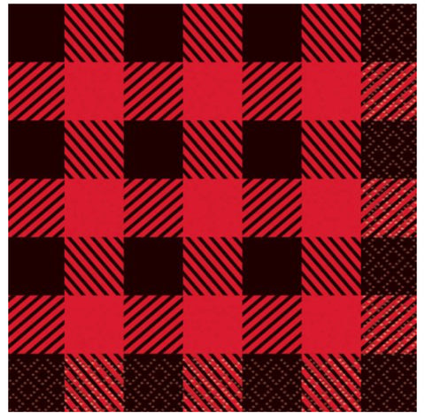 more Buffalo Plaid Lumberjack Paper Beverage Napkins, 5in, 16ct