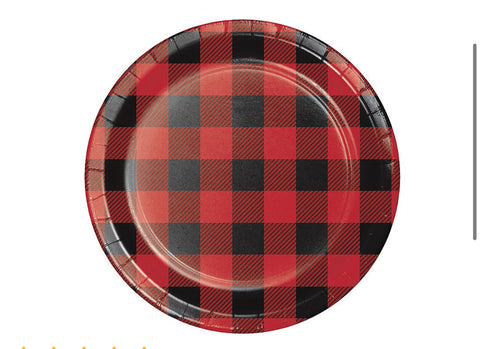Lumber Jack Buffalo Plaid Dessert Plates 8ct