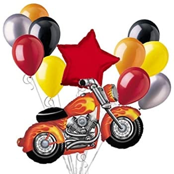 Harley motorcycle Balloon Bouquet Set with Red Star 12pc