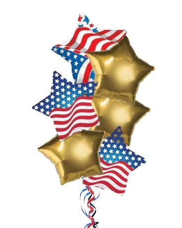 Stars & Stripes Gold Bouquet 6pc