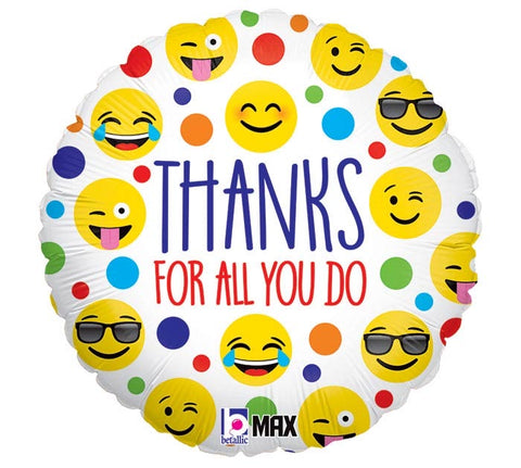 EMOJIS THANKS FOR ALL YOU DO BALLOON