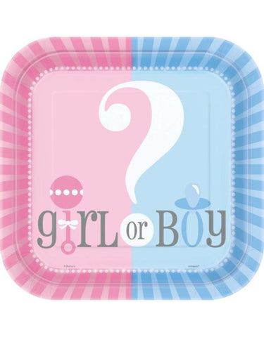 Gender Reveal Plates (Two Size Options)