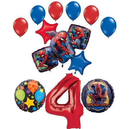Spider-Man Party Supplies 4th Birthday Balloon Bouquet Decorations