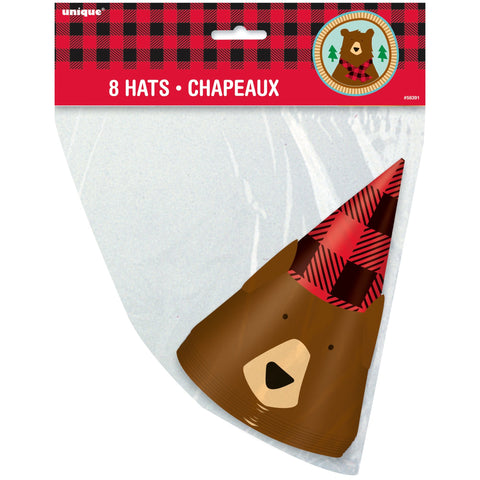 Buffalo Plaid Bear Lumberjack Birthday Party Hats, 8ct