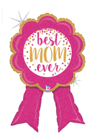 Best Mom Ribbon Holographic 37""
