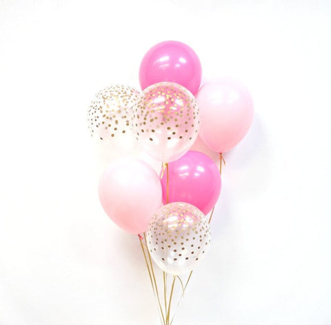 Pink and Gold Confetti Balloon - Pink and Gold Confetti Balloon Bouquet - Pink Mix Balloons
