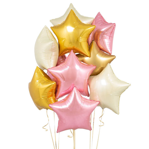 Mylar Star Pink Set Bouquet 10pc