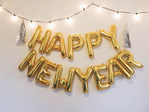 New Year's Eve Gold Balloon Banner