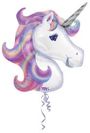 Purple Rainbow Unicorn Balloon 33in x 29in - Giant