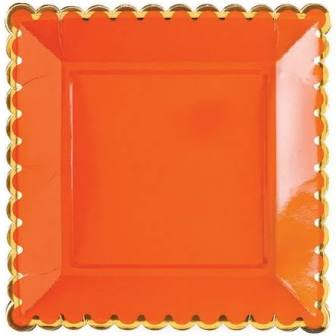 Orange Scalloped Plates