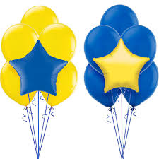 Yellow & Blue Latex & Star Bouquet Sets