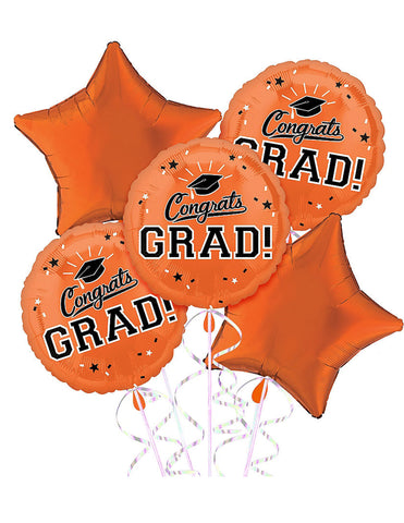 Orange Star Balloon Bouquet 5pc.