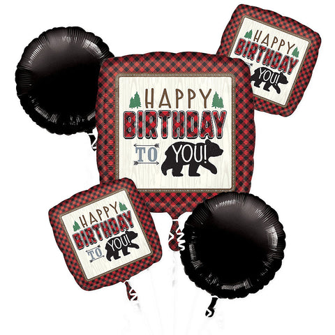 Lumberjack Happy Birthday Balloon Bouquet 5pc