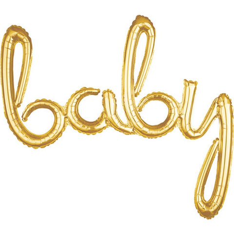 Air-Filled Gold Baby Cursive Letter Balloon Banner, 33in