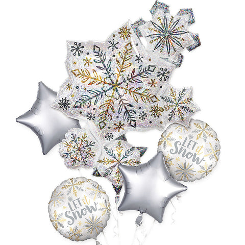 Iridescent Snowflake Balloon Bouquet 5pc