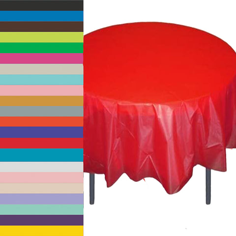 Round Solid Color Plastic 84'' Tablecovers