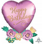 Happy Birthday Satin Heart With Flowers 31'' Balloon