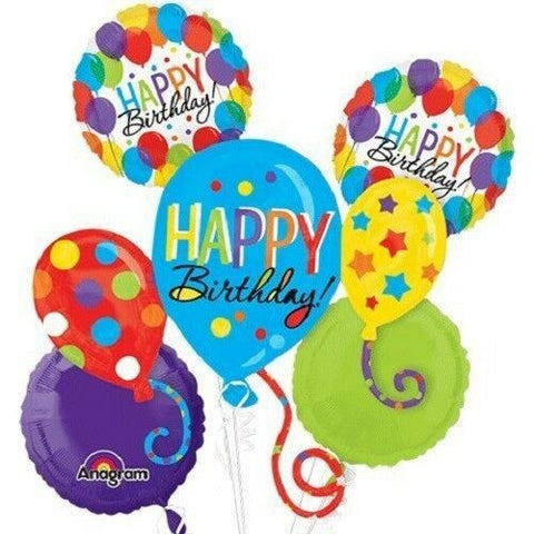 Balloon Bash Bouquet HAPPY BIRTHDAY 5pc