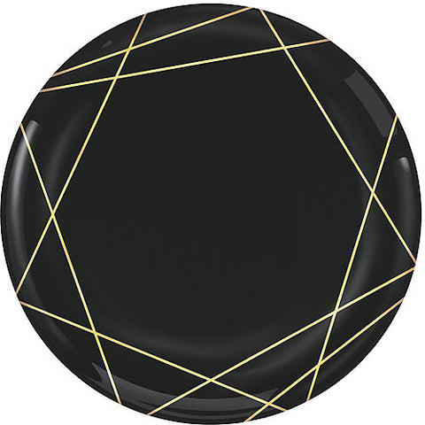 Black Metallic Gold Line Premium Plastic Dinner Plates 10ct