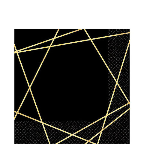Black Metallic Gold Line Premium Lunch Napkins 16ct
