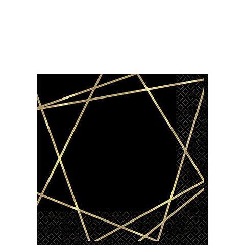 Black Metallic Gold Line Premium Beverage Napkins 16ct