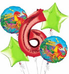 Prehistoric Dinosaurs Birthday Balloon Bouquet 5pc (Number Option)
