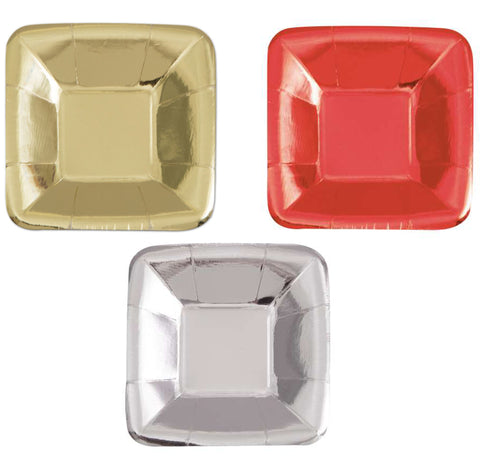 "Red Foil Square 5"" Appetizer Plates 8ct - Foil Board"