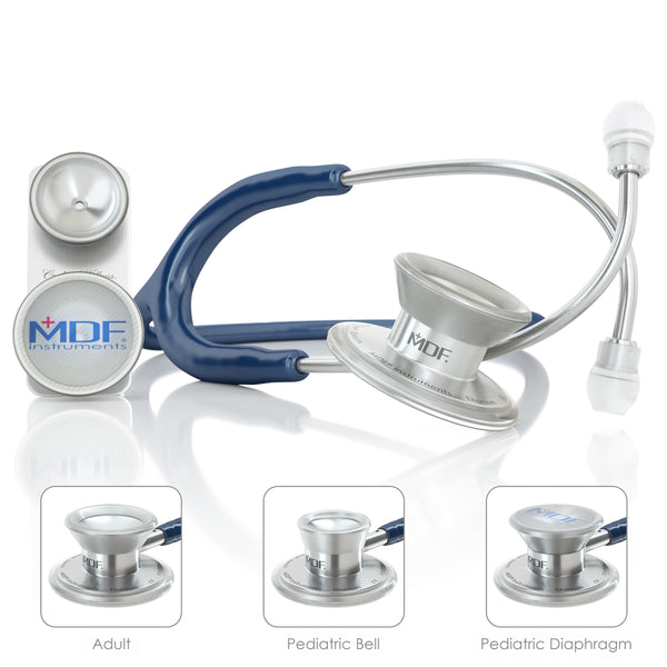 MDF® MD One® Epoch Titanium Stethoscope - Silver - Navy Blue