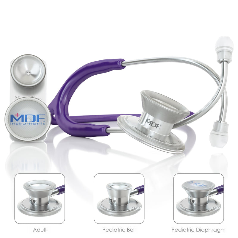 MDF® MD One® Epoch Titanium Stethoscope - Silver - Purple