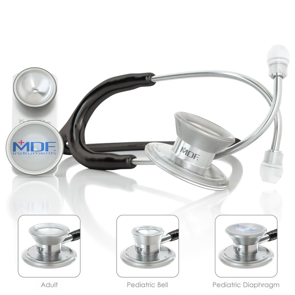 MDF® MD One® Epoch Titanium Stethoscope - Silver - Black