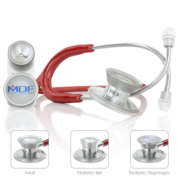 MDF® MD One® Epoch Titanium Stethoscope - Silver - Burgundy