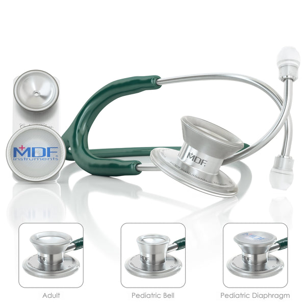 MDF® MD One® Epoch Titanium Stethoscope - Silver - Emerald Green