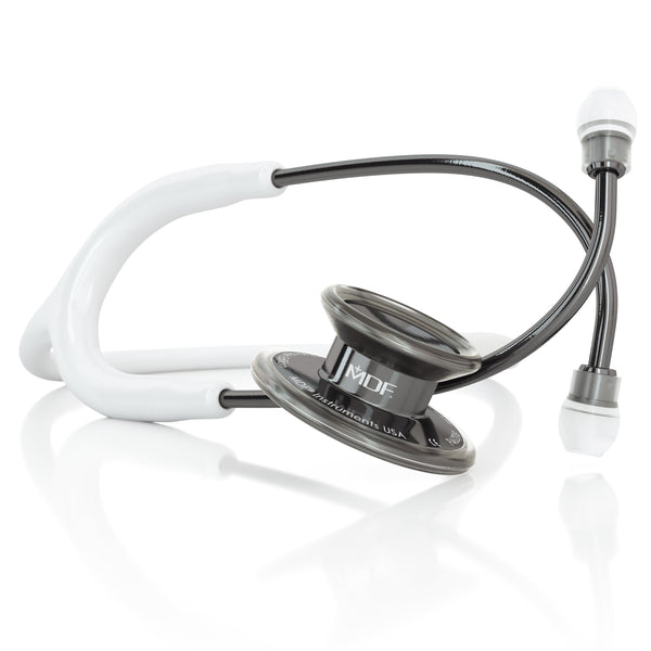 MDF® MD One® Adult Stainless Steel Stethoscope - Perla Noire - White