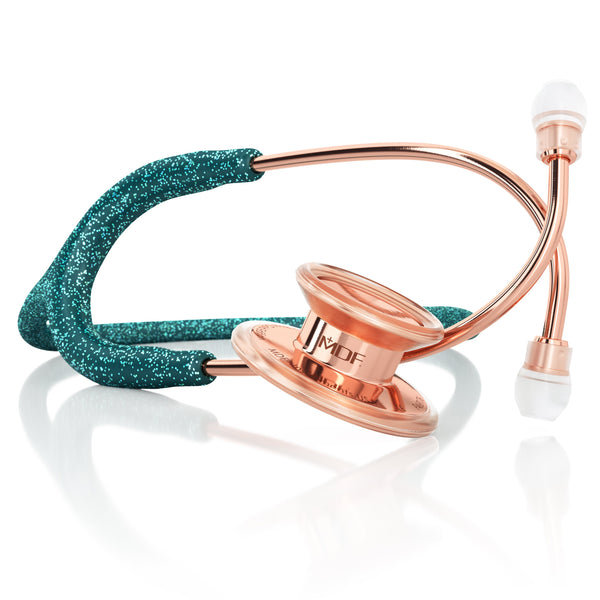 MDF® MD One® Adult Stainless Steel Stethoscope - Rose Gold - Green Glitter