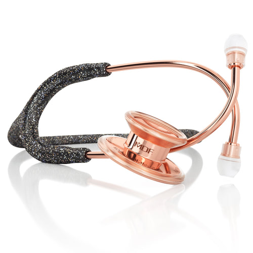 MDF® MD One® Adult Stainless Steel Stethoscope - Rose Gold - Black Glitter