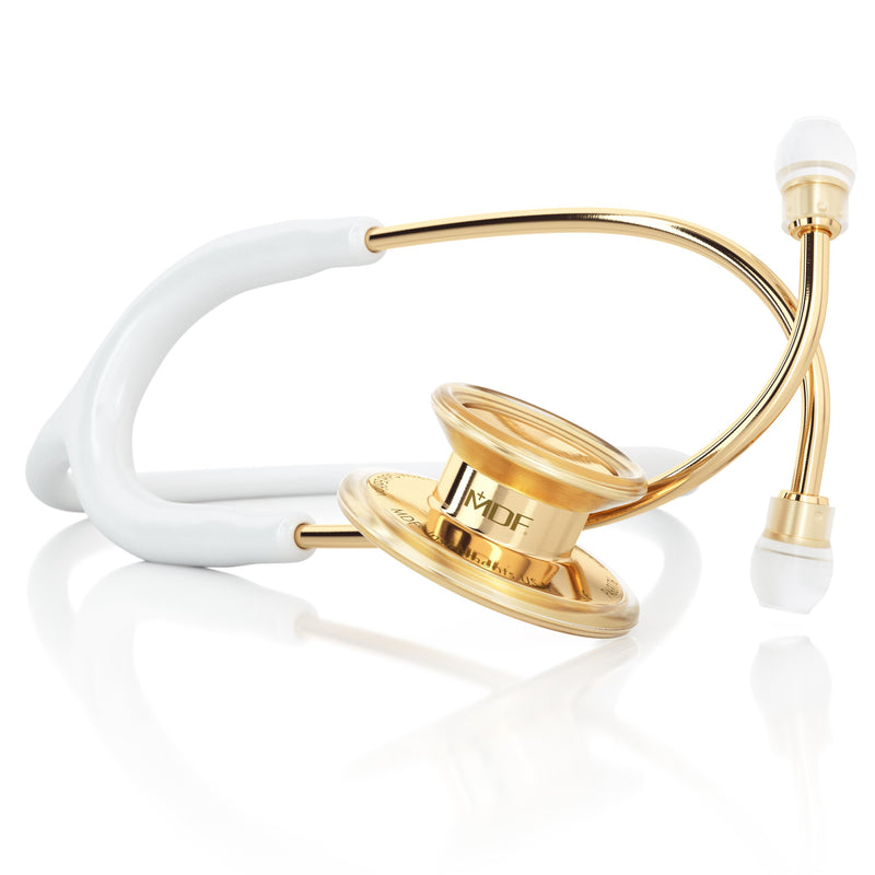 MDF® MD One® Adult Stainless Steel Stethoscope - K Gold - White