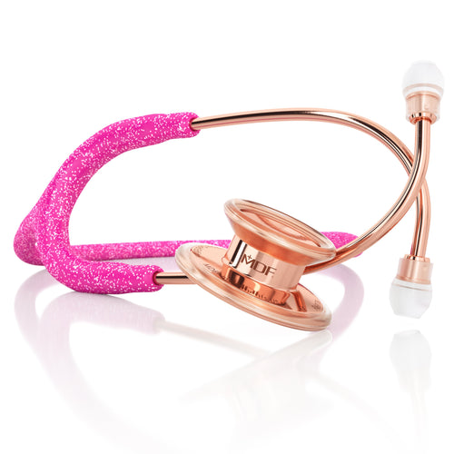 MDF® MD One® Adult Stainless Steel Stethoscope - Rose Gold - Pink Glitter