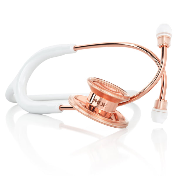 MDF® MD One® Adult Stainless Steel Stethoscope - Rose Gold - White