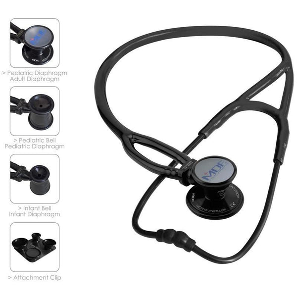 MDF® ProCardial® ERA® Adult, Pediatric & Infant Aluminum Stethoscope - BlackOut - Black - MDF797XBO