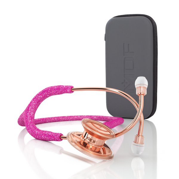 MDF® MD One® Adult Stainless Steel Stethoscope - Rose Gold - Pink Glitter + Case