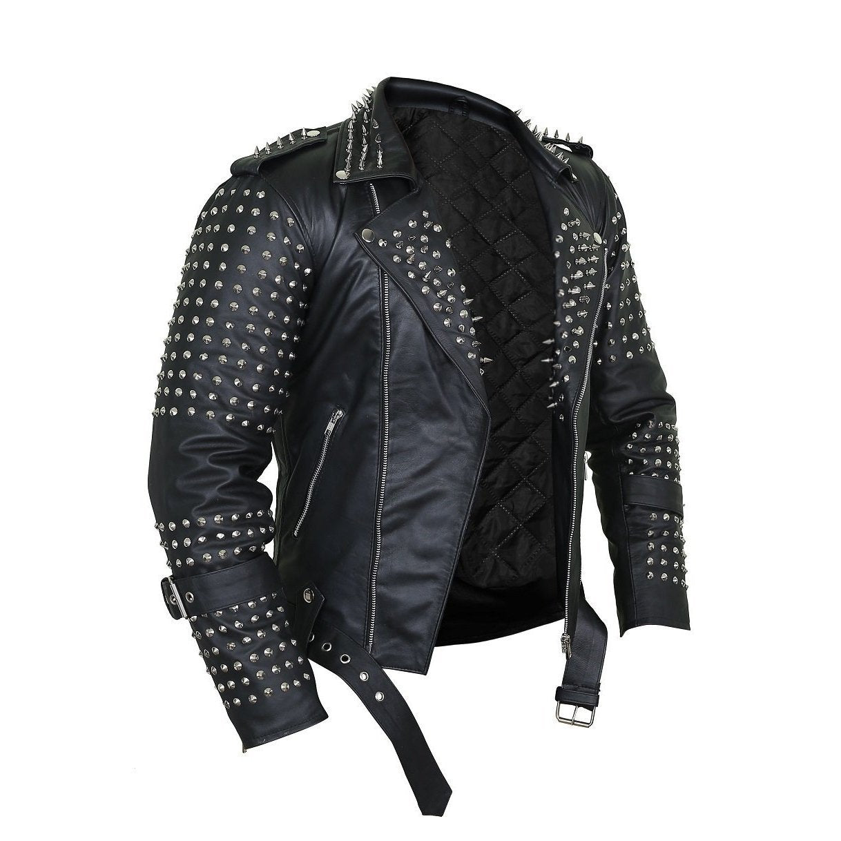 Black Punk Leather Jacket with Spikes Decor
