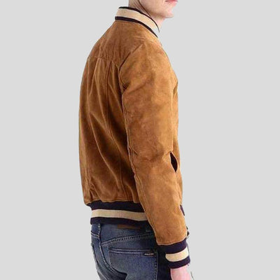 Deon Brown Suede Bomber Leather Jacket